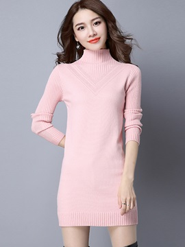 Plain Turtleneck Long Sleeve Sweater Dress