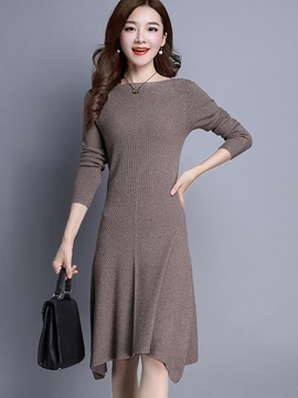 Asymmetric Plain Long Sleeve Sweater Dress