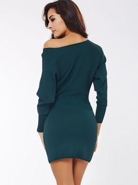 Solid Color Long Sleeve Sweater Dress
