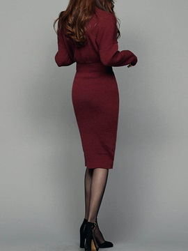 Solid Color Stand Collar Long Sleeve Sweater Dress