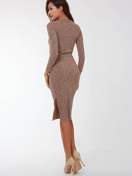 Solid V-Neck Nine Points Sleeve Sweater Dress