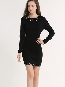 Solid Round Neck Bead Sweater Dress