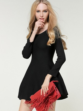 Solid Color Round Neck Empire Waist Sweater Dress