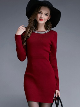 Solid Color Bead Mid-Waist Sweater Dress