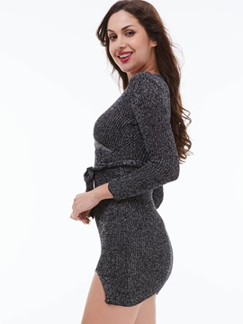 Solid Color V-Neck Lace-Up Sweater Dress