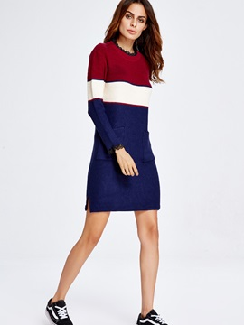 Vertical Striped Pocket Pullover Sweater Dress