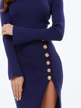 Solid Button Split Sweater Dress