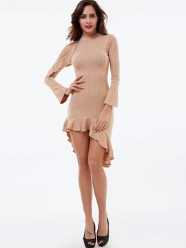 Turtleneck Asymmetrical Hollow Sweater Dress