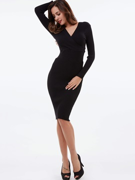 Pullover Nine Points Sleeve Backless Sweater Dress