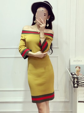 Vertical Striped Color Block Off-the-Shoulder Sweater Dress