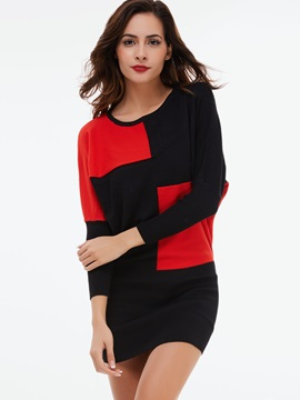 Color Block Pullover Round Neck Sweater Dress
