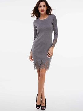 Pullover Patchwork Lace Sweater Dress