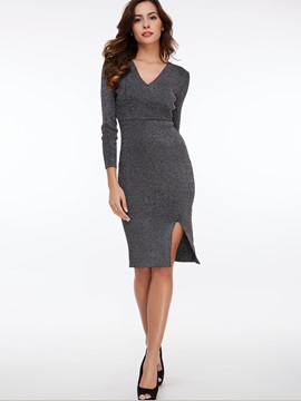 Plain V-Neck Split Sweater Dress