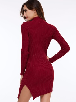 Solid Color Stand Collar Pullover Sweater Dress