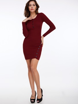 Pullover Solid Color Button Sweater Dress