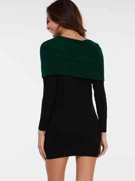 Color Block Pullover Double-Layer Sweater Dress