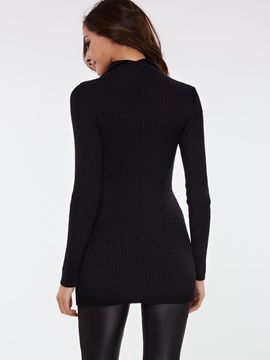 Turtleneck Solid Pullover Sweater Dress
