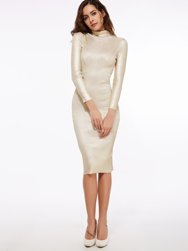 Plain Turtleneck Pullover Bodycon Dress