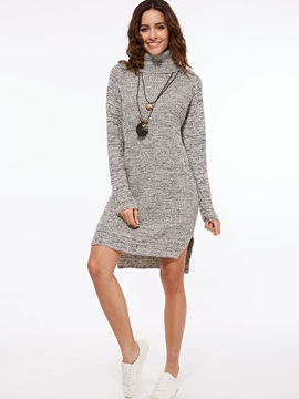 Plain Turtleneck Split Sweater Dress