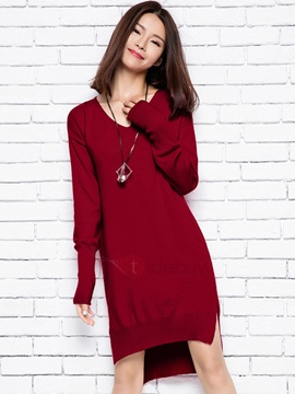 Solid Color V-Neck Asymmetric Sweater Dress