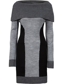 Slash Neck Color Block Sweater Dress