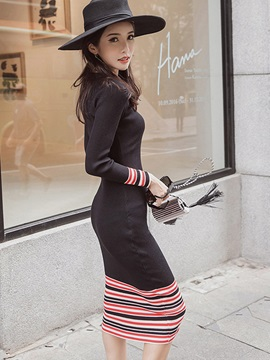 Vertical Striped Pullover Mid-Waist Sweater Dress