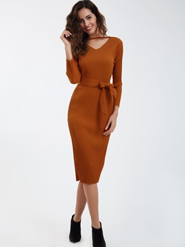 V-Neck Plain Lace-Up Bodycon Dress
