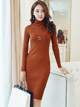 Solid Turtleneck Sheath Sweater Dress
