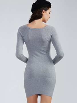 Plain Deep V-Neck Pullover Sweater Dress