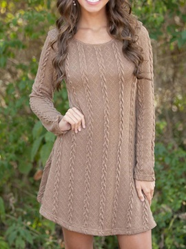Scoop Long Sleeves Women's Day Dress