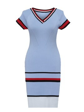 V-Neck Raglan Sleeve Stripe Women's Sweater Dress