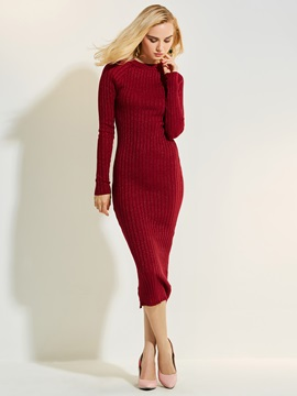 Round Neck Plain Mid-Calf Women's Sweater Dress