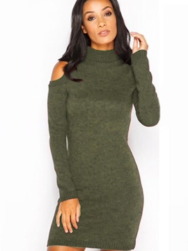 Multi-colored Open Shoulder Sleeve Sweater Dress