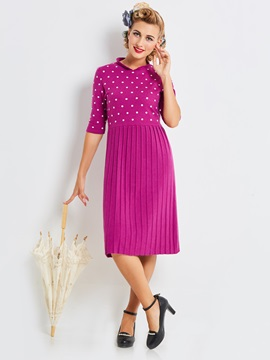 Polka Dots Half Sleeve Knee Length Day Dress