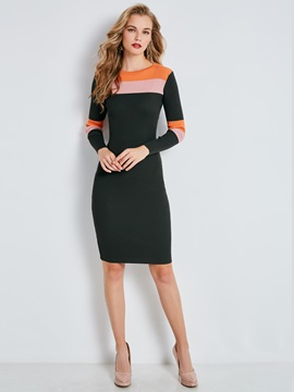 Color Block Stripe Long Sleeve Women's Sweater Dress