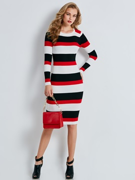Color Block Stripe Women's Sweater Dress