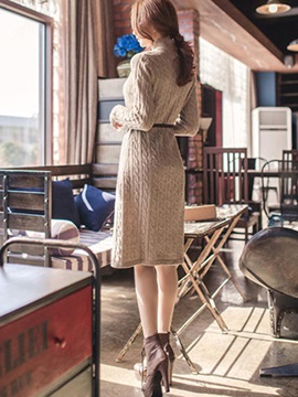 High Neck Single-Breasted Plain Women's Sweater Dress