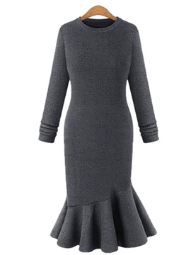 Plain Long Sleeves Mermaid Women's Maxi Sweater Dress