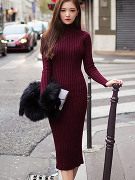 Turtle Neck Plain Long Sleeve Women's Sweater Dress