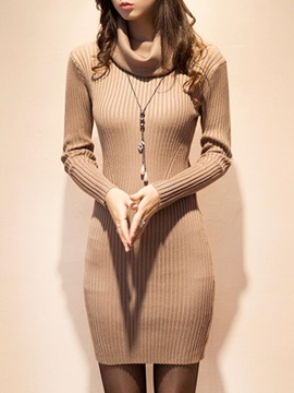 Plain Turtleneck Long Sleeve Women's Sweater Dress