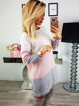 Color Block Long Sleeve Lace-Up Women's Sweater Dress