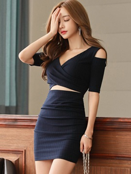 V-Neck Cold Shoulder Hollow Women's Bodycon Dress