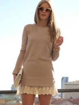 Tidebuy Long Sleeves Lace Patchwork Sweater Dress