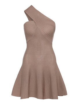 Khaki One Shoulder Women's Day Dress