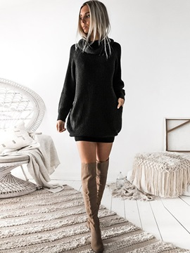 Long Sleeve Above Knee Pocket Spring Regular Women's Sweater Dress