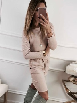 Above Knee Round Neck Lace-Up Casual Women's Sweater Dress