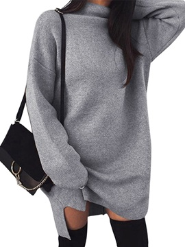 Long Sleeve Color Block Straight Cotton Women's Sweater Dress