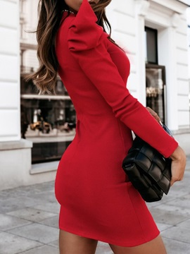 Long Sleeve Above Knee Stand Collar Pullover Puff Sleeve Women's Dress