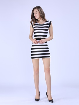 Fashionable New Summer Leisure Stripe Dress
