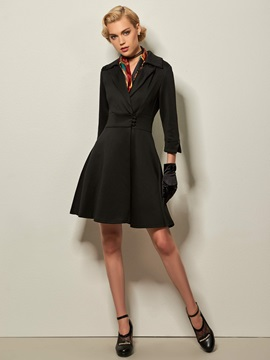 Chic Three Quarter Sleeves Day Dress